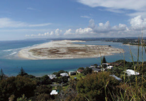 The view to the south over Mangawhai Estuary and dunes